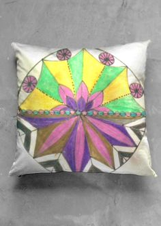 Accent Pillow - Luster Square - Peace Mandala in Rainbow by VIDA Original Artist Accent Pillows, Throw Pillows, Vida Design, Design Trends, Organic Cotton, Original Art, Mandala, Luster, Rainbow