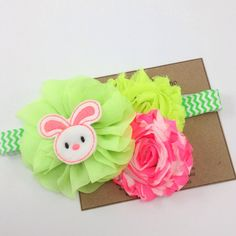 You will GLOW in this Neon Headband! So cute for Easter or Spring Time Photos!  A Neon Green Ballerina Flower with a neon pink felt bunny center