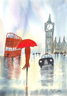 London Rainy Day~Red Umbrella by Artist KJ Carr