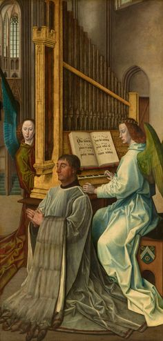 Hugo van der Goes (1440-1482), The Trinity Altarpiece: the donor Edward Bonkil  accompanied by two Angels playing an organ