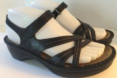 NAOT Paris Sandal Black Leather Strappy Sandals EU37 USA 6.5 Removable Cork Bed #NAOT #Strappy #All