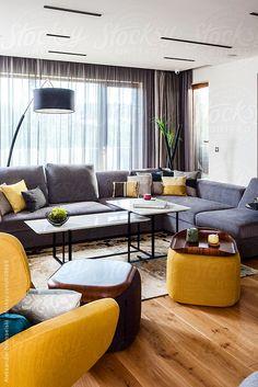 Contemporary interior by Aleksandar Novoselski - Stocksy United Living Area, Living Rooms, Contemporary Interior, Ideal Home, Decor Styles, Sofas, Curtains, Table, Fajardo