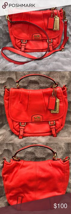 Coach Madison Annabelle leather crossbody Coach Madison Annabelle crossbody in red/vermillion pebbled leather with brass/gold hardware. Long strap comes with it. Smoke free home. Very small amount of dye transfer on the back, which I took a photo of. Otherwise in excellent condition. Coach Bags Crossbody Bags
