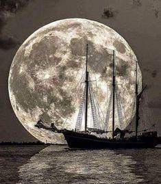Moonset + sailboat