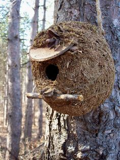 These round rustic eco-friendly birdhouses are handmade with all natural materials including pine needles, jute, hemp, moss, pinecones, sticks and other forest finds.
