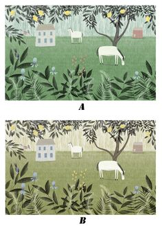 This Spring Farm Pattern wallpaper is Specially Designed and Custom Made to fit almost Any Size of Your Walls! As a great revolution of traditional repetitive patterns, it makes your room as Artistic as with a Fabulous Mural! 2 Colors for your Choice!  ------------ Material ------------ All our artwork is printed on High Quality Germany Non-woven Paper with Laser Digital Printing Technology and Belgium Food-Safe Toners. ----------------- Advantages ----------------- 1. Moisture-proof & Mi...