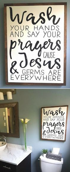 Wash your hands and say your prayers because Jesus & germs are everywhere! bathroom wood sign, farmhouse bathroom decor, rustic sign, home decor, farmhouse sign, rustic decor, bathroom wall decor #ad