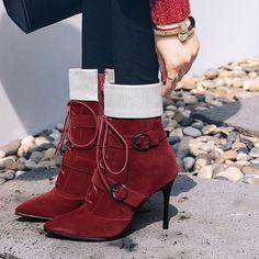 Ericdress Color Block Buckle High Heel Boots|Material:Suede