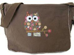 Messenger Bag Canvas Messenger Bag Brown by StitchesbyJulia, $32.00