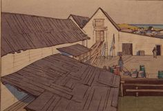 """Warren's Landing, Lake Winnipeg"", 1931, , woodcut by Walter J. Phillips (1884-1963). Tags: Linocut, Cut, Print, Linoleum, Lino, Carving, Block, Woodcut, Helen Elstone, Timber Buildings, Canada."