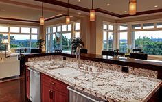 A kitchen countertop can be an essential design element by choosing bold marble colors and styles. #customhomes #kitchen #kitchendecor #kitchendesign #interiordesign #countertop #interiordesign #interiordesigners