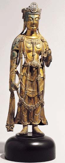 Standing Avalokiteshvara. Three Kingdoms Period, 1st half of 7th century. h…