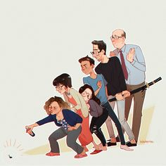 a family's gotta stick together! please watch one day at a time on netflix, it's a very good show [alt: a drawing of the One Day At A Time cast. penelope is crouching to spray a cockroach. Marcel Ruiz, Vicar Of Dibley, Artist Alley, Watch One, Slow Dance, Parks N Rec, First Tv, John Mulaney, Shows On Netflix