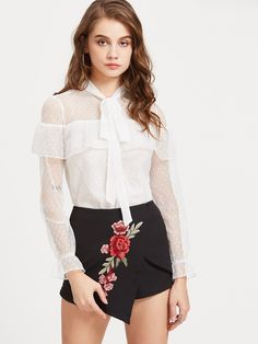 Shop Off White Tie Neck Dobby Mesh Frill Blouse online. SheIn offers Off  White Tie Neck Dobby Mesh Frill Blouse & more to fit your fashionable needs.