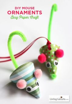 Cute DIY Mouse Ornaments. A fun DIY Christmas Paper Craft. LivingLocurto.com