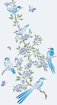 Charming small chinoiserie style birds and blossom flowers 2 sheet stencil The Birds and Blossom Stencil is a two sheet stencil with five delicate little birds shown nestling on flowering branches and twigs. Ideal for stencilling on fabrics, clothing, cushions, cards and as chinoiserie motifs on w