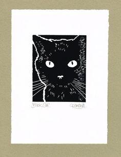 Cat print - Black Cat - Original Hand Pulled Linocut Print