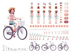 Young Woman Cycling City Bike. Character Creation