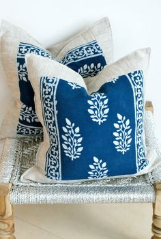 Indian Hand block Print Throw Pillows Cushion Covers Organic Cotton and Organic Raw Linen 18x18 Pair Blue and White Print