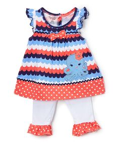 Coral & Blue Octopus Tunic & Leggings - Infant, Toddler & Girls