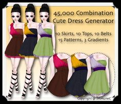 45,000 Comination Cute Dress Generator created for IMVU Products, designed by iMMuneC @ IMVU. This product has Resell Rights included and has no limit on buyers. Generator includes 10 Base Colors in Tops, Skirts and Belts in edition to 15 Layerable Patterns, and 3 Layerable Gradients.Cute Pink Dress