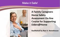 The focus of this course is to help you as a family caregiver create a safe living space and  conditions to support an elder living semi-independently in the community or adapting your family household to support an elder as a member of your family.  This course is based upon Make it Safe! A Family Caregiver's Home Safety Assessment Guide for Supporting Elders@Home which is a compilation of safety tips, and sage advice to help support an elder in aging semi-independently and safely. Home Safes, Safety Tips, Caregiver, Your Family, Assessment, Sage, Advice, Household, How To Make
