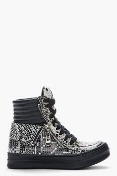 JEFFREY CAMPBELL Black and grey Kirk Snake Sneakers