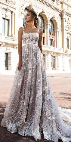tina valerdi 2019 wedding dresses a line blush straight neck spaghetti straps lace marilyn