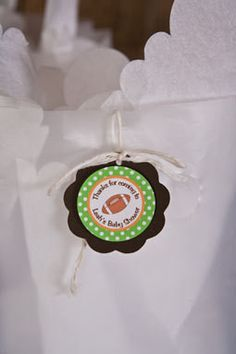 Football Favor Tags Baby Shower- Brown & Green