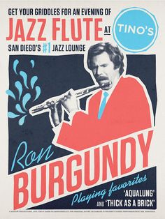 Cool Art: 'Ron Burgundy Jazz Flute At Tino's' by Aled Lewis -- I NEED THIS FRAMED IN MY HOME