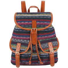 Tribal Print Vintage Rucksack Canvas Women Backpack School Bag