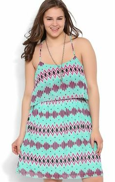 Deb Shops Plus Size Tribal Print Dress with Ruffle Bodice