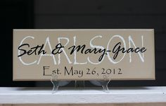 Custom Last Name Signs. Personalized Family Last Name Wood Sign. Perfect Wedding Gifts, Bridal Shower or Anniversary Gifts. $25.00, via Etsy.