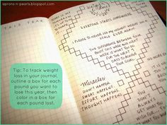Bullet Journal | Aprons 'n Pearls  Weight loss goal sheet ideas.....Make a box for each pound you want to lose, when met fill in the box!