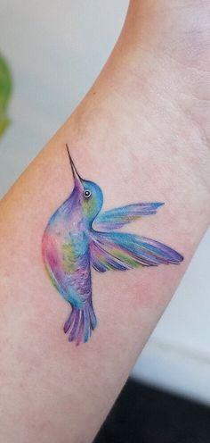 watercolor hummingbird tattoo © tattoo artist G. Hummingbird Flower Tattoos, Hummingbird Tattoo Watercolor, Hummingbird Tattoo Meaning, Watercolor Tattoo Sleeve, Small Watercolor Tattoo, Tiny Bird Tattoos, Nature Tattoo Sleeve, Mini Tattoos, Body Art Tattoos