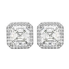 Asscher-Cut Diamond Stud Earrings (~6 ct tw)