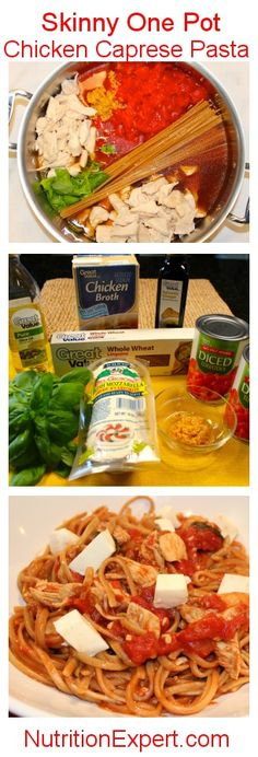 Skinny One Pot Chicken Caprese Pasta: healthy, simple ingredients, delicious, affordable. Easy fast meal!