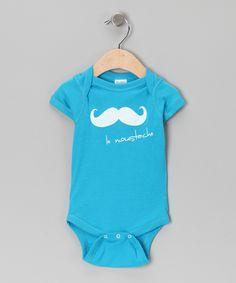 Turquoise 'Le Moustache' Bodysuit - Infant