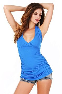 ANGVNS Women's Fashion Halter Sleeveless Pleated Deep V-Neck Sexy Tops Blouse * Check this awesome image @ http://www.amazon.com/gp/product/B00Y072RSC/?tag=wwwmytravel-20?ef=060816005823