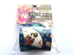 Japanese Fabric Tape - Blue Tape - Japanese Fan Geisha - Blue Fabric