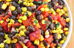 An easy Black Bean and Corn Salsa recipe perfect for serving as an appetizer or as a compliment to grilled chicken or barbecue.