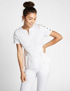Modern Scrubs and Lab Coats for Men and Women by Jaanuu Nursing Clothes, Nursing Dress, Diy Clothes, Dental Uniforms, Dental Scrubs, Top Gris, Scrubs Pattern, Stylish Scrubs, Cute Scrubs