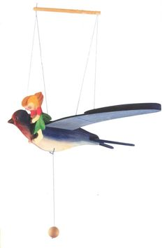 Kinderkram Elfchild with Swallow Mobile - Kinderkram Wooden Mobile - Children's Mobiles - Blueberry Forest