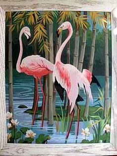 Vintage Flamingo Art Pink green and black trim Nursery room