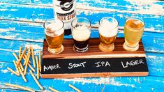 Craft a DIY Beer+ Flights Tasting Tray - Donal Hazeldean Beer Tasting Glasses, Hot Sauces, Wood Projects, Brewing, Alcoholic Drinks, Easy Diy, Tray, Diy Crafts, Candies