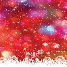 Red Bokeh With Snowflakes Backdrop