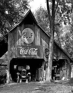 Barn With Old car In It & Ads For Gulf and Coke