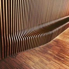 Wood slat wall to bench all CNC milled