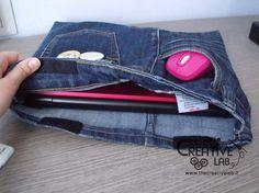 #tutorial per realizzare una #borsa #custodia per #portatile da vecchi #jeans #riciclo #riciclare #computer #faidate