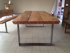 Kernbuche Massivholz Esstisch mit Stahlgestell Kernbuche solid wood dining table with steel frame Diy Esstisch, Home Furniture, Furniture Design, Solid Wood Dining Table, Home And Living, Sweet Home, Interior Design, House Styles, Home Decor